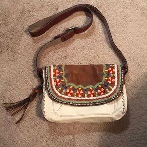 Lucky Brand crocheted leather cross body purse